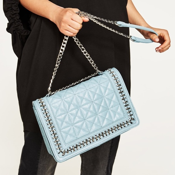 56325d43 ZARA BABY BLUE QUILTED CROSSBODY BAG NWT